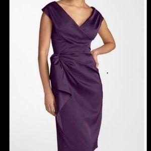 Maggy London Purple Satin Evening Cocktail Dress